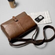 [PRE-ORDER] Men PU Leather Retro Messenger iPad Buckle Sling Bag
