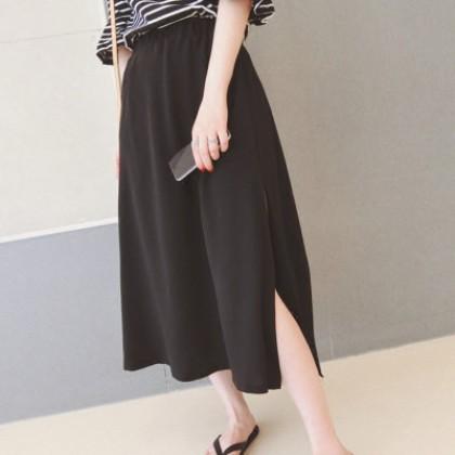 Plain Black Chiffon Long Dress Maxi