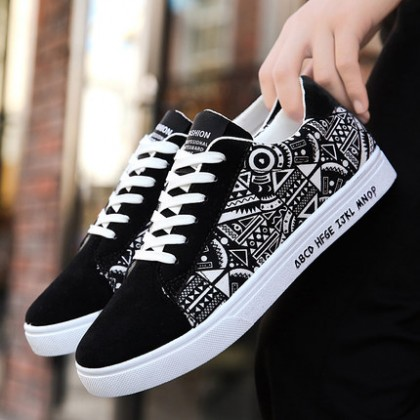 [READY STOCK / PRE-ORDER] Men Creative Graffiti Graphic Printing Canvas Shoes