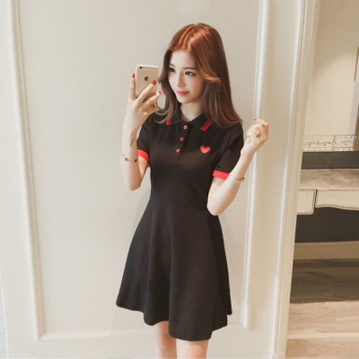 3c49b450447 Women Love Embroidery Short-sleeved Polo Collar T-shirt Dress