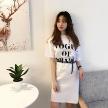 Women Word Strapless Letter Printing Loose Long Dress with Belt