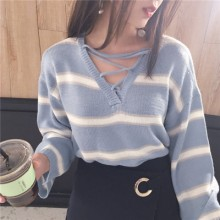 Women Strap Hollow V-neck Stripes Loose Long-sleeved Sweater