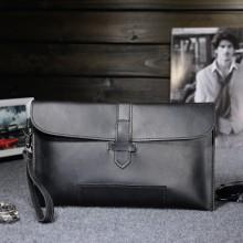Men High Quality Crazy Horse Leather Envelope Clutch Hand Bag