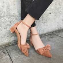 [PRE-ORDER] Women Suede Bow Ribbon Pointed Buckle High Heels Sandals