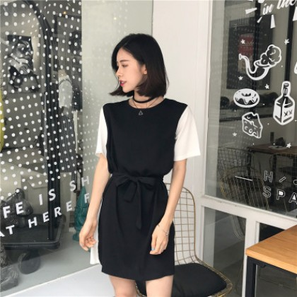 Women Loose Thin Retro With Front Lace Belt Dress