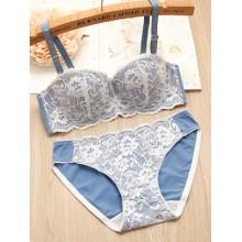 [PRE-ORDER] Women Detachable Double Shoulder Strap Lace Lingerie Set