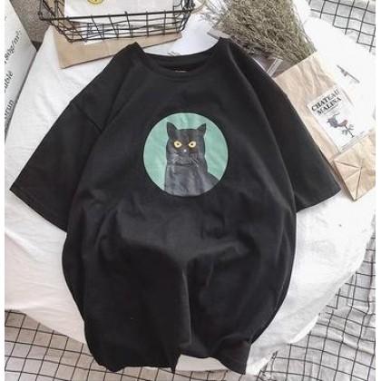 Men's Printed Cat on Plain Loose Tees
