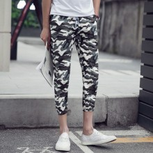 Men's Camouflage Print Cropped Slim Pants