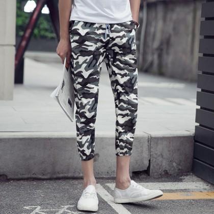 Men's Camouflage Print Cropped Slim Pants