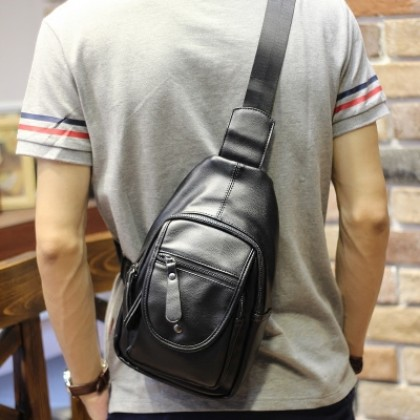 Men's New Trend Small Messenger Bag Sling Black Backpack