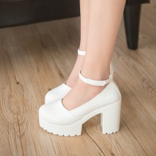 [PRE-ORDER] Women Plain Colored Round Buckle High Heels Shoes