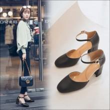 [PRE-ORDER] Women Classy Ankle Strap Round Head High Heels Sandals