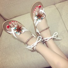 [PRE-ORDER] Women Beaded Strap With Tie Flat Beach Sandals