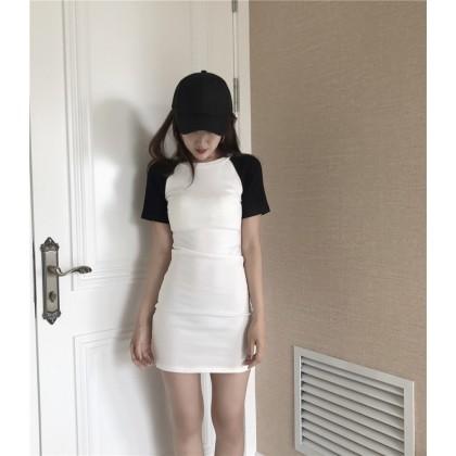 Women Plain Black and White Short Sleeve Hip Skirt Dress
