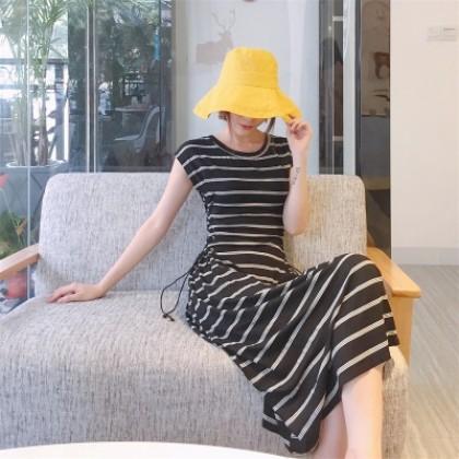 Women Semi Sleeveless Long Skirt Side Lace Tie  Dress