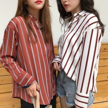 Women Long Sleeved Stripe Collared Polo Shirt Blouse