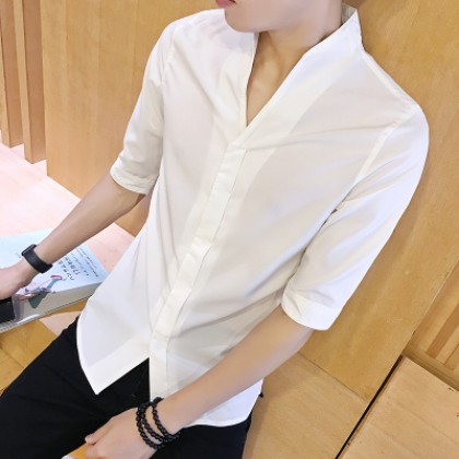 Men's Basic Color Standing Collar Half Sleeve Business Casual Shirt