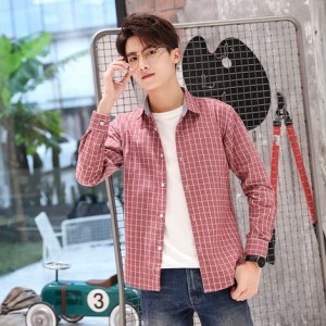 Men's Plaid Polo Collared Long Sleeve Casual Shirt