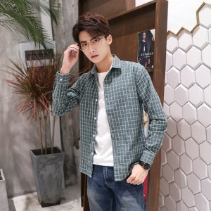 [PRE-ORDER] Men's Plaid Polo Collared Long Sleeve Casual Shirt