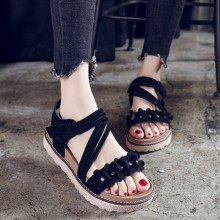 [PRE-ORDER] Women Retro Floral Thick Bottom Suede Open Toe Velcro Sandals