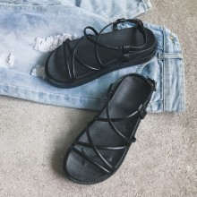 [PRE-ORDER] Women Open Toe Roman Strap Basic One Button Buckle Sandals