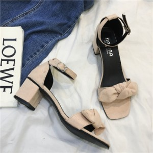 Women Open Toe Ankle Strap Elegant Bow Design High Heel Shoes