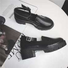 [PRE-ORDER] Women Black Ankle Belt Buckle Strap Student High Heeled Shoes