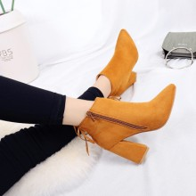 [PRE-ORDER] Women Pointed Side Zipper Back Lace Up Thick High Heeled Ankle Boots