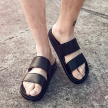 [PRE-ORDER] Men's Black Double Strap Summer Couple Flat Slip Ons