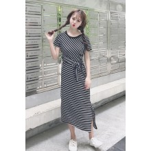 Women Black And White Stripes Back Lace Front Ribbon Tie Slim Dress
