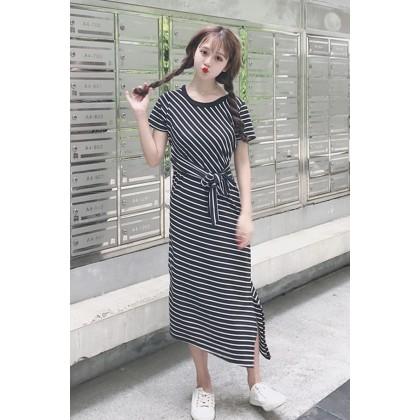 Women Black And White Stripes Back Lace Front Ribbon Tie Slim Dress