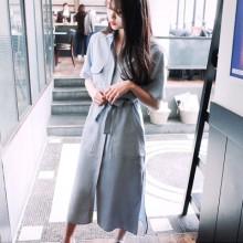 Women Plain Polo Collared Front Pockets High Waist Long Dress Plus Size