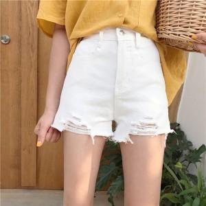 Women Denim Tattered High Waist Loose Wide Leg Shorts