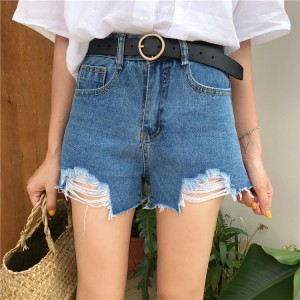Women Denim Tattered High Waist Loose Wide Leg Shorts