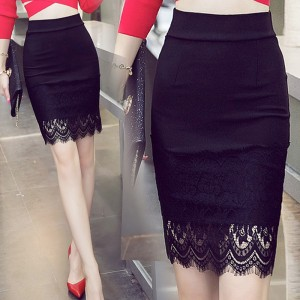 [PRE-ORDER] Women Black Long Sexy Lace Hem High Waist Plus Size Skirt