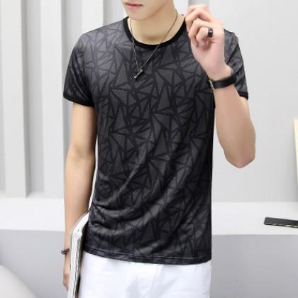 Men's Geometric Pattern Ice Silk Round Neck Short Sleeve Plus Size Tees