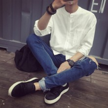 [PRE-ORDER] Men's Plain Linen Standing Collar Long Sleeve With Front Pocket Shirt