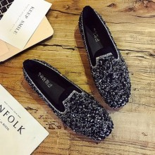 [PRE-ORDER] Women Trendy Shiny Diamond Casual Fashion Flat Shoes