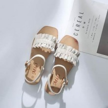 [PRE-ORDER] Women Ruffled Fashion Buckle Roman Shoe Sandals
