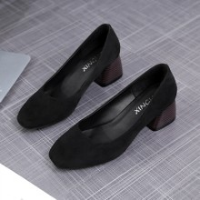 [PRE-ORDER] Women Colored Suede Square Head Fashion Thick High Heels