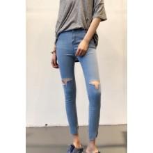 Light Blue High Waist Jeans Long Pants