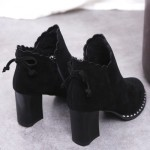 [PRE-ORDER] Women High Fashion Velvet Side Zipper Bow Tie High Heels Boots