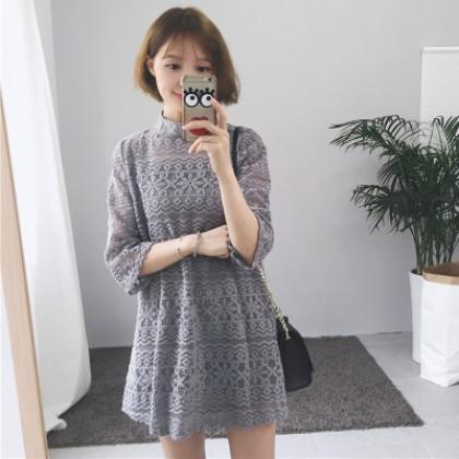 Women 2in1 Spaghetti Strap Overlay Loose Waist Crop Sleeve Lace Mini Dress