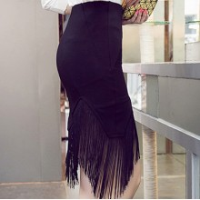 [PRE-ORDER] Women Black High Waist Stretch Fabric Tassel Edge Plus Size Skirt