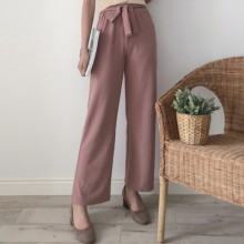 [PRE-ORDER] Women Plain Colored Tie Waist Casual Long Pants