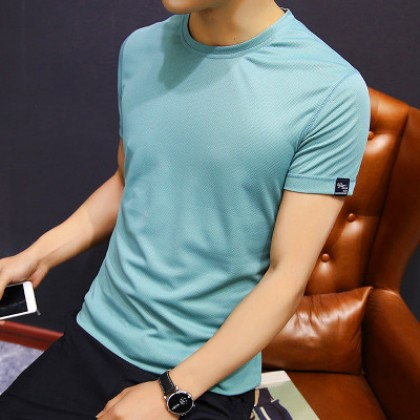 Men's Solid Color Round Neck Half Sleeve Dri Fit Plus Size Tees
