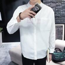 [PRE-ORDER] Men's Plain Color Standing Collar Long Sleeve Casual Business Shirt