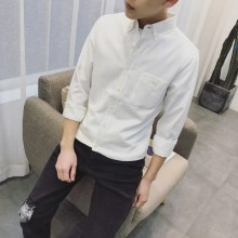 Men's Plain Color Button Collared Long Sleeve Casual Business Shirt