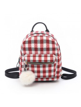 [PRE-ORDER] Women Plaid With Fur Ball Key Chain Fashion Cute Mini Backpack