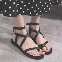 [PRE-ORDER] Women Roman Buckled Ladies Shoes Flat Plain Colored Sandals